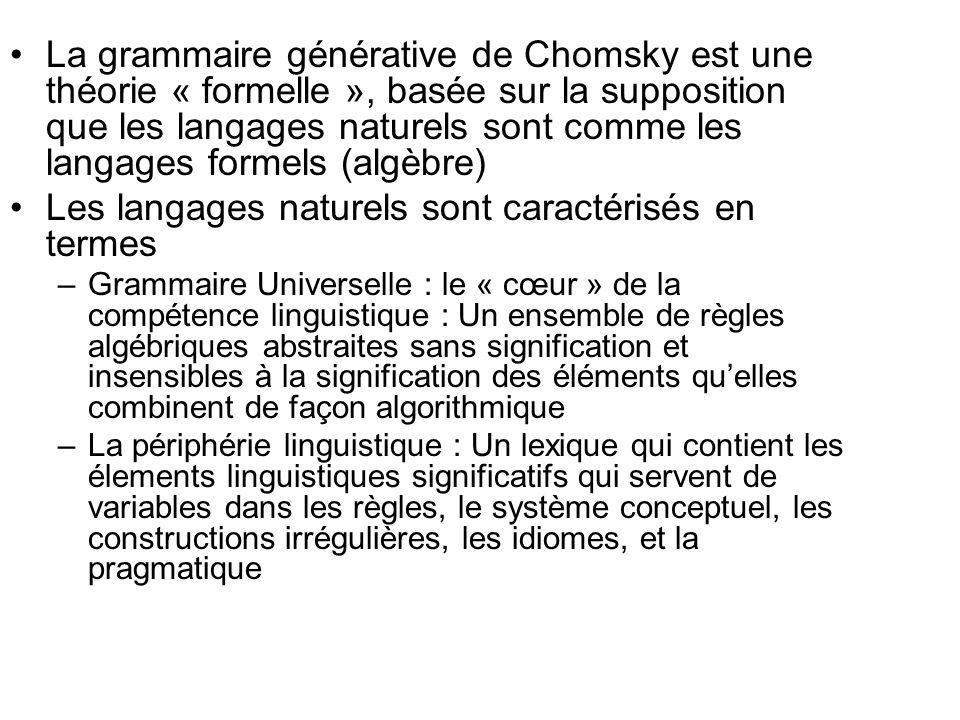 Les langages naturels sont caractérisés en termes