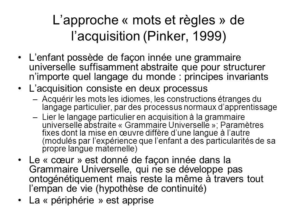 L'approche « mots et règles » de l'acquisition (Pinker, 1999)