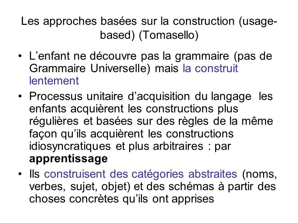 Les approches basées sur la construction (usage-based) (Tomasello)