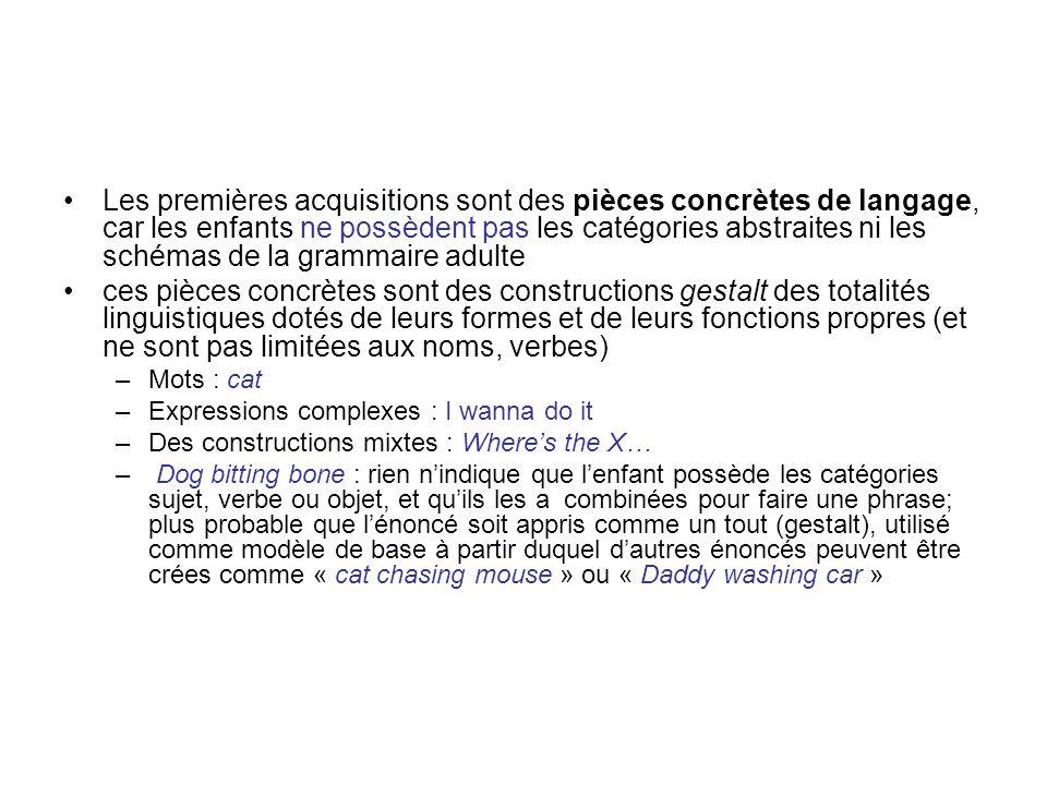 Les premières acquisitions sont des pièces concrètes de langage, car les enfants ne possèdent pas les catégories abstraites ni les schémas de la grammaire adulte