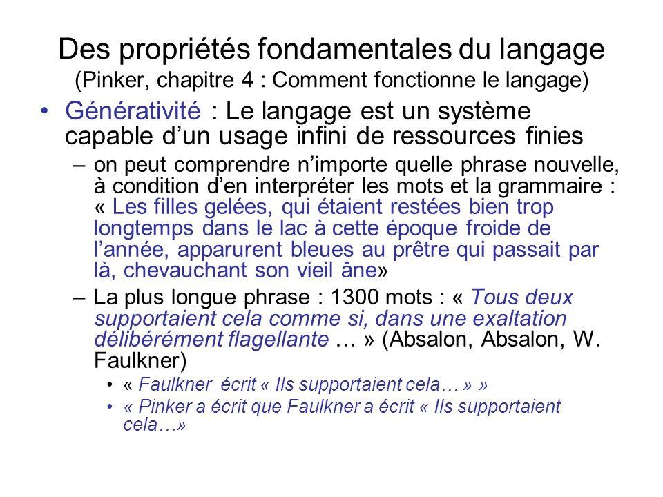 Des propriétés fondamentales du langage (Pinker, chapitre 4 : Comment fonctionne le langage)