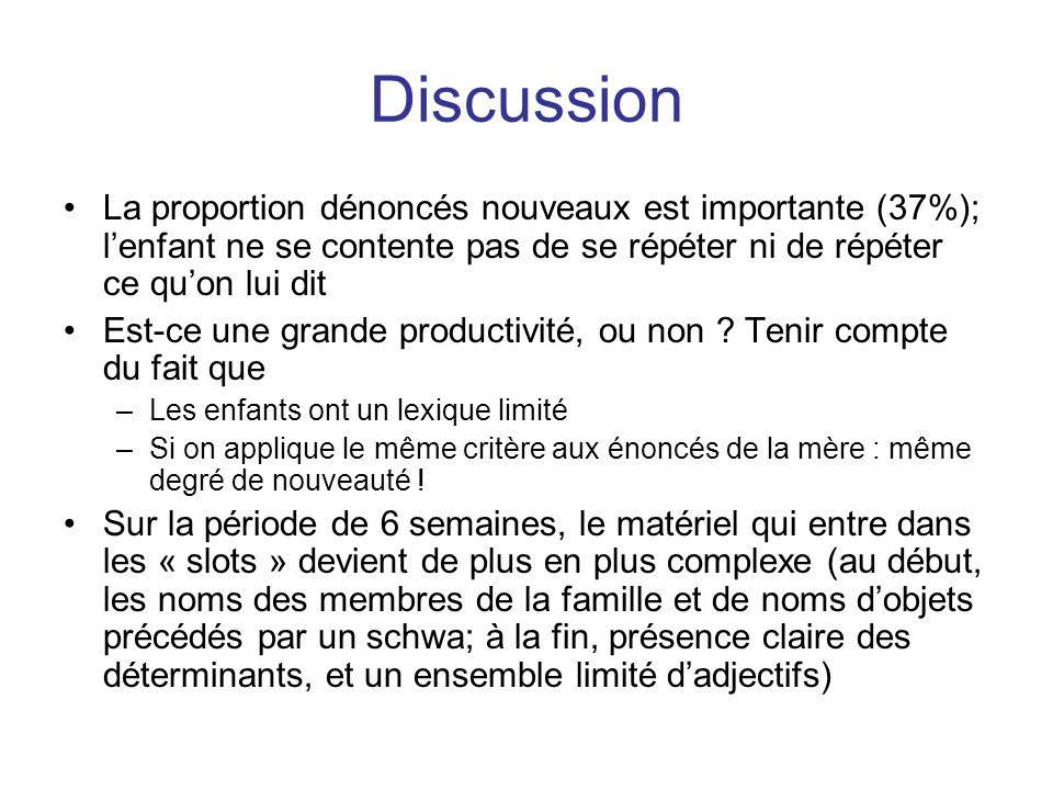Discussion La proportion dénoncés nouveaux est importante (37%); l'enfant ne se contente pas de se répéter ni de répéter ce qu'on lui dit.