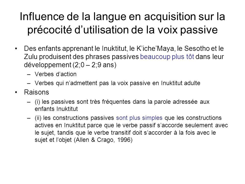 Influence de la langue en acquisition sur la précocité d'utilisation de la voix passive
