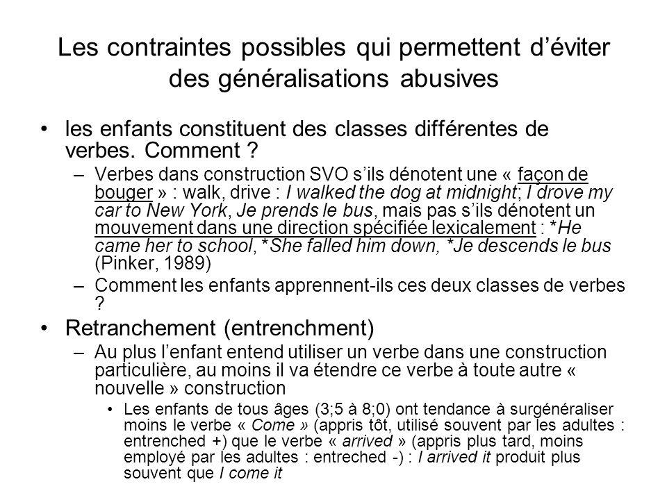 Les contraintes possibles qui permettent d'éviter des généralisations abusives