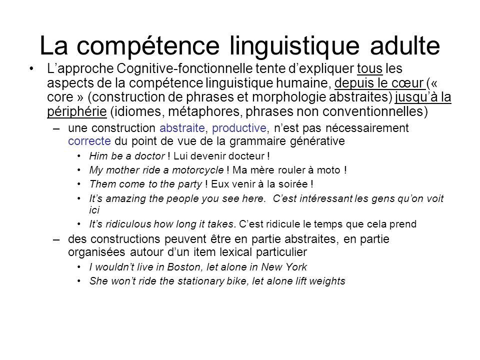 La compétence linguistique adulte