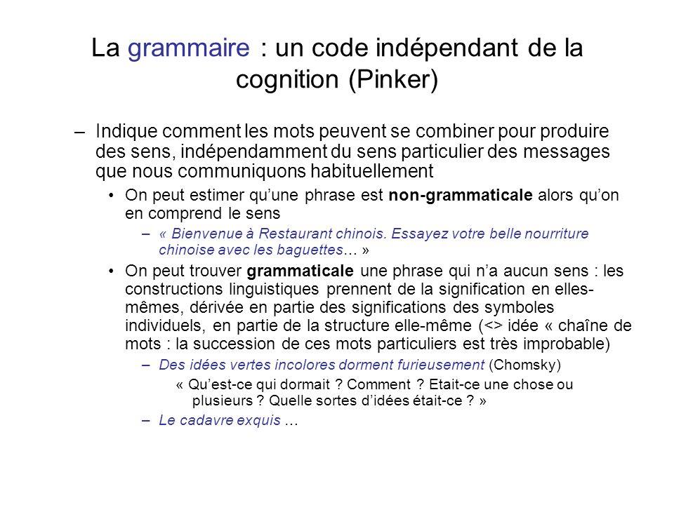La grammaire : un code indépendant de la cognition (Pinker)