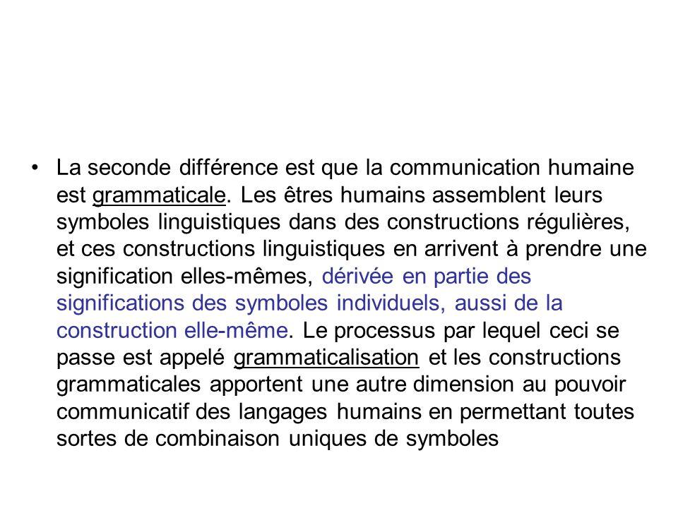 La seconde différence est que la communication humaine est grammaticale.