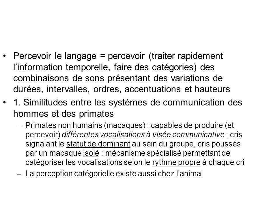 Percevoir le langage = percevoir (traiter rapidement l'information temporelle, faire des catégories) des combinaisons de sons présentant des variations de durées, intervalles, ordres, accentuations et hauteurs