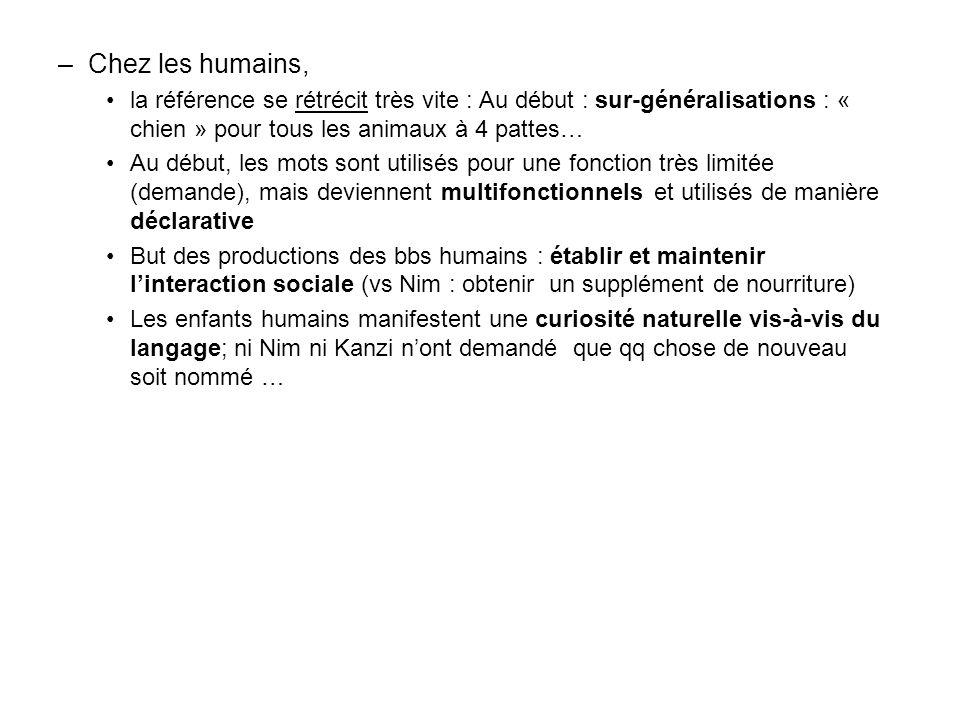 Chez les humains, la référence se rétrécit très vite : Au début : sur-généralisations : « chien » pour tous les animaux à 4 pattes…