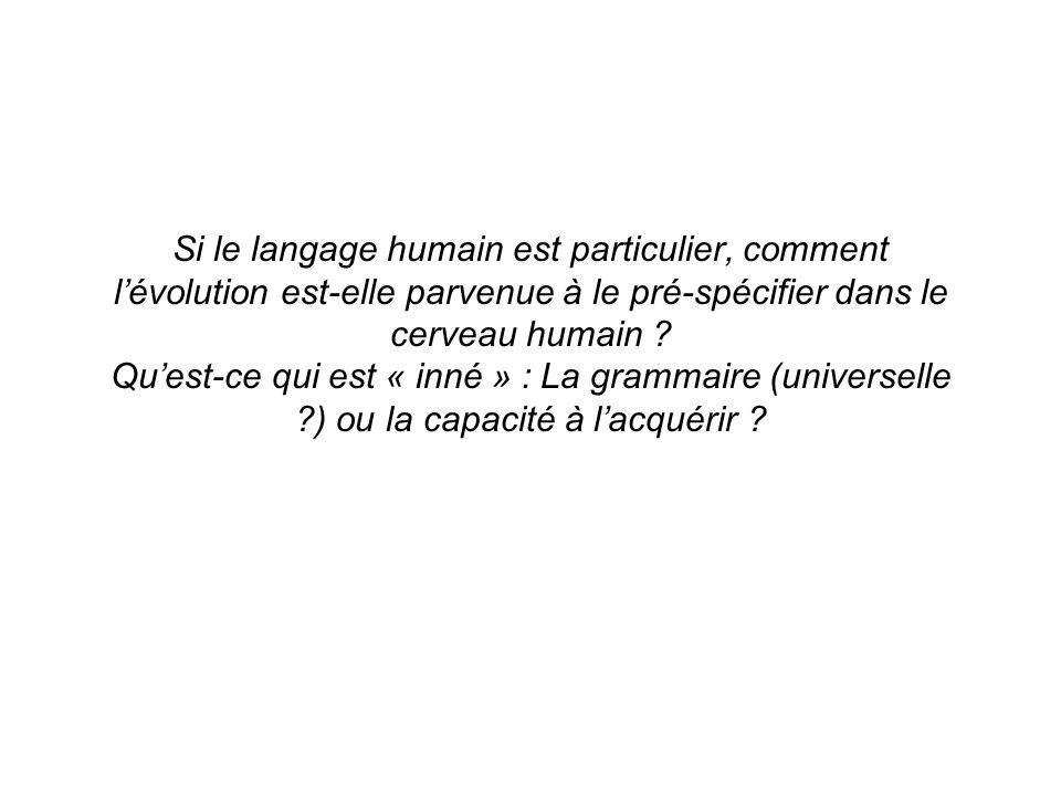Si le langage humain est particulier, comment l'évolution est-elle parvenue à le pré-spécifier dans le cerveau humain .