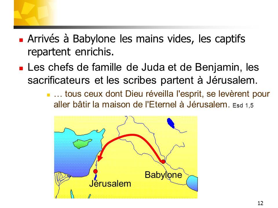 Arrivés à Babylone les mains vides, les captifs repartent enrichis.