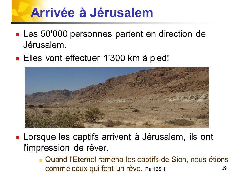 Arrivée à Jérusalem Les 50 000 personnes partent en direction de Jérusalem. Elles vont effectuer 1 300 km à pied!