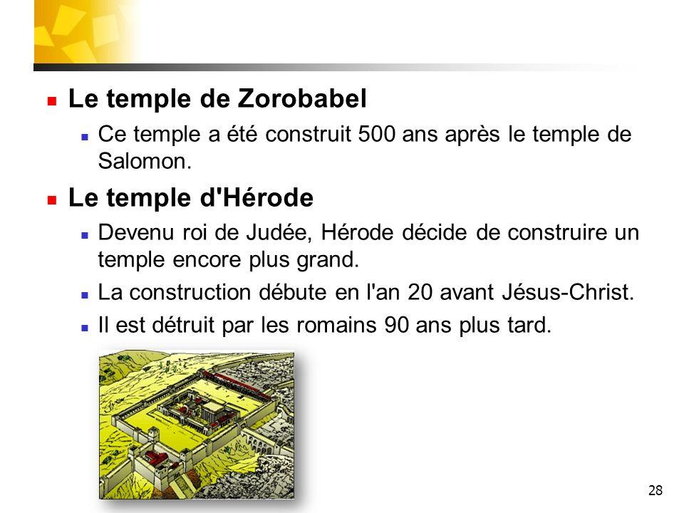 Le temple de Zorobabel Le temple d Hérode