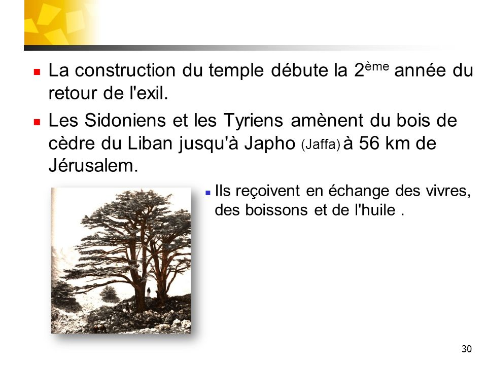 La construction du temple débute la 2ème année du retour de l exil.