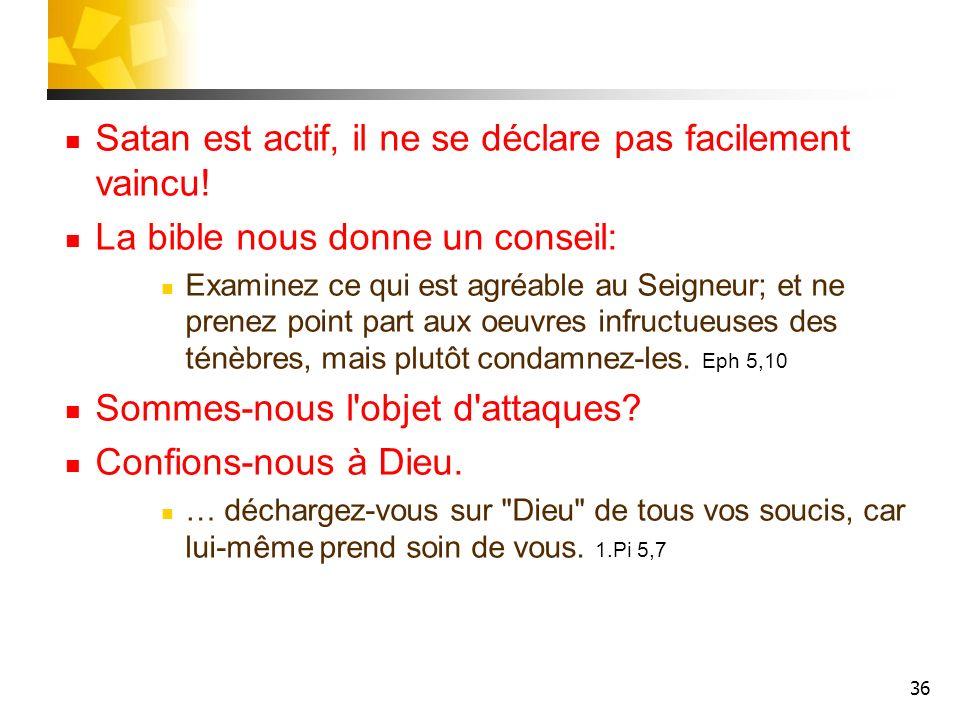 Satan est actif, il ne se déclare pas facilement vaincu!