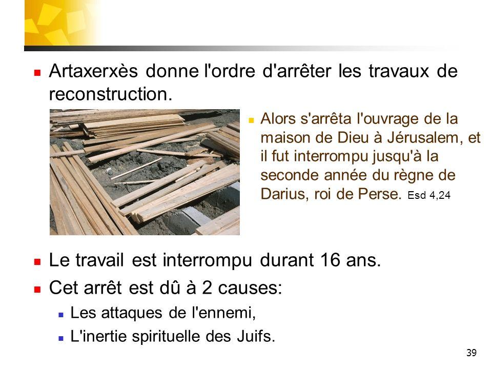 Artaxerxès donne l ordre d arrêter les travaux de reconstruction.