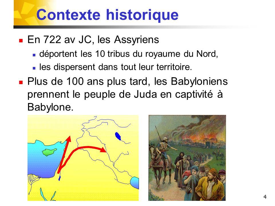 Contexte historique En 722 av JC, les Assyriens