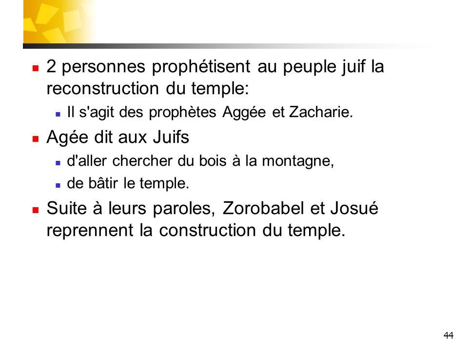 2 personnes prophétisent au peuple juif la reconstruction du temple: