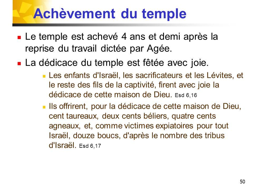 Achèvement du temple Le temple est achevé 4 ans et demi après la reprise du travail dictée par Agée.