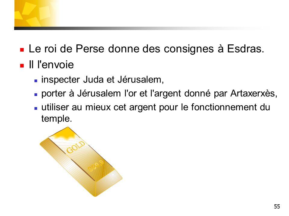 Le roi de Perse donne des consignes à Esdras. Il l envoie