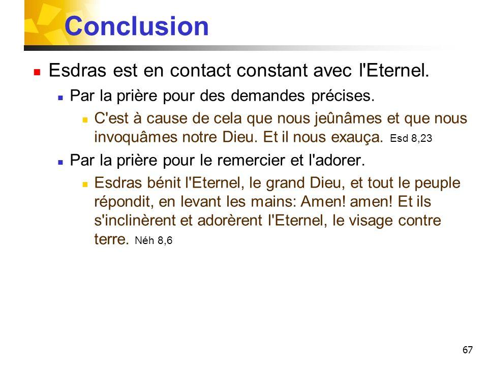 Conclusion Esdras est en contact constant avec l Eternel.