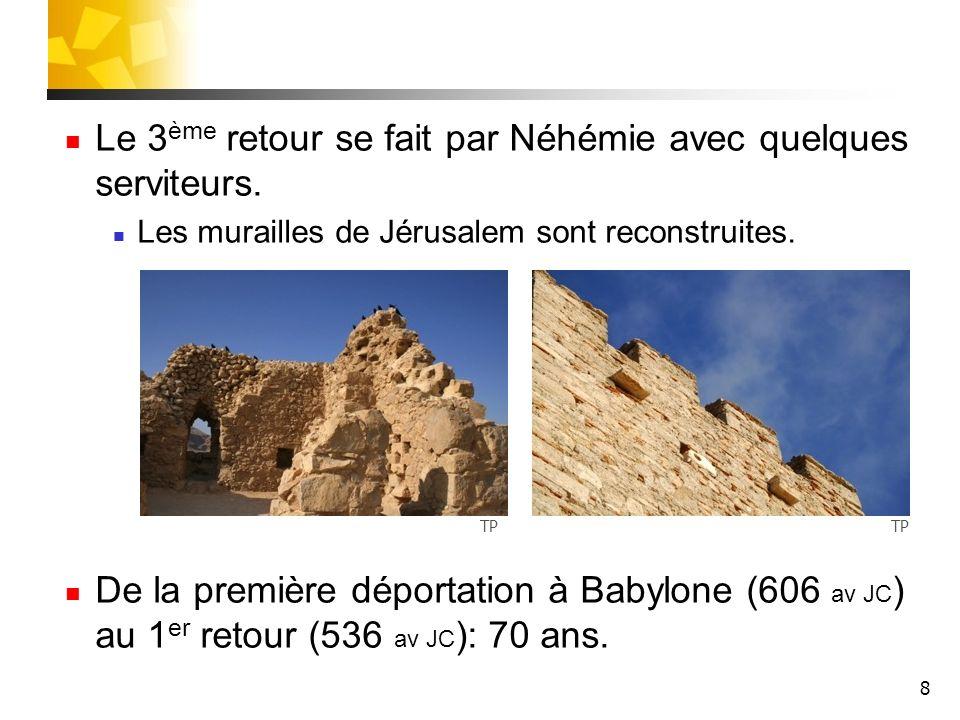 Le 3ème retour se fait par Néhémie avec quelques serviteurs.