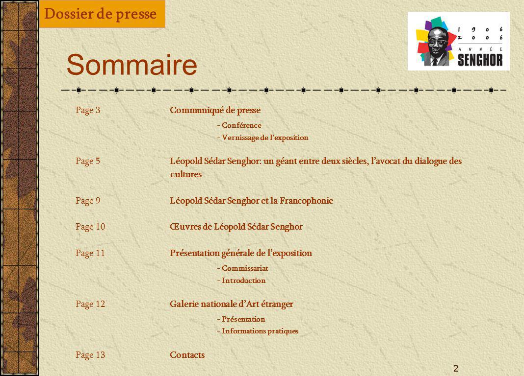 Sommaire Dossier de presse - Conférence - Commissariat - Présentation