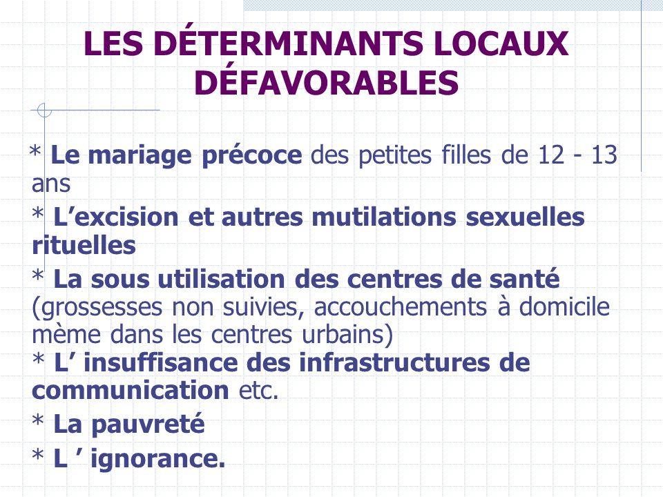 LES DÉTERMINANTS LOCAUX DÉFAVORABLES