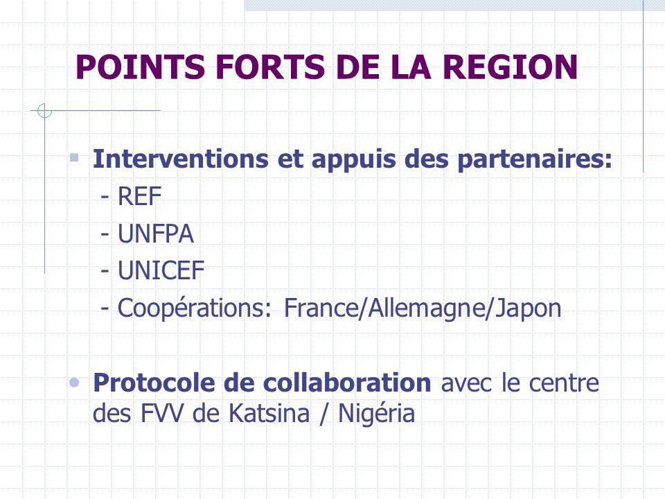 POINTS FORTS DE LA REGION