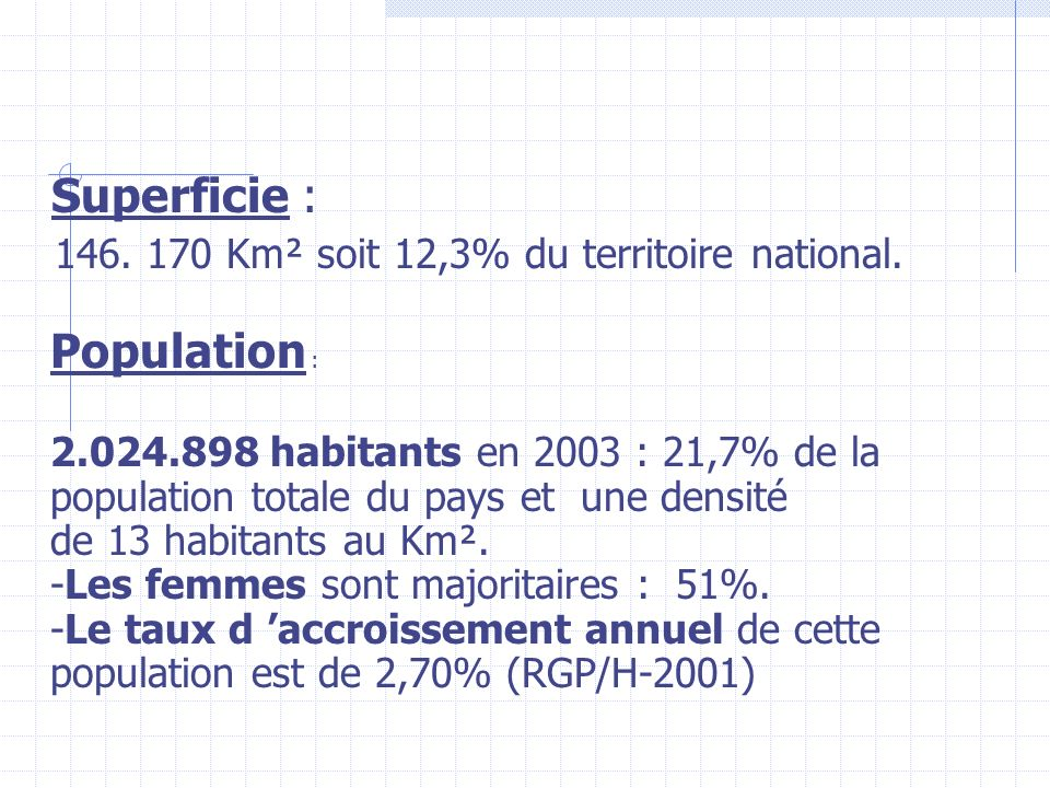 Superficie : 146. 170 Km² soit 12,3% du territoire national. Population :