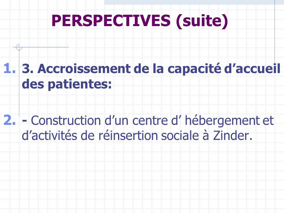PERSPECTIVES (suite) 3. Accroissement de la capacité d'accueil des patientes: