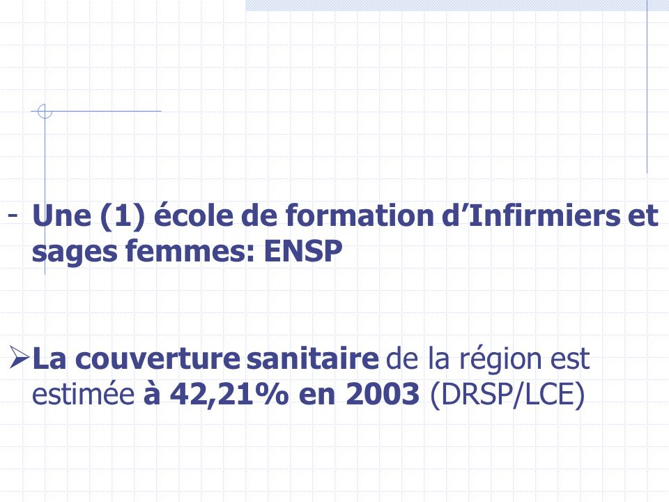 Une (1) école de formation d'Infirmiers et sages femmes: ENSP