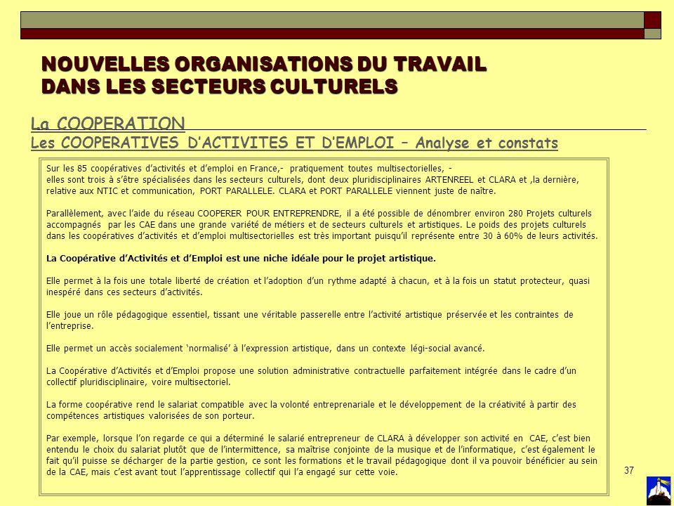 NOUVELLES ORGANISATIONS DU TRAVAIL DANS LES SECTEURS CULTURELS
