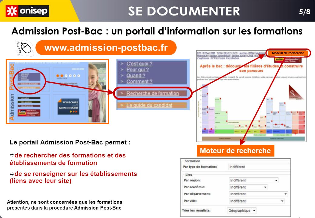 SE DOCUMENTER 5/8. Admission Post-Bac : un portail d'information sur les formations.
