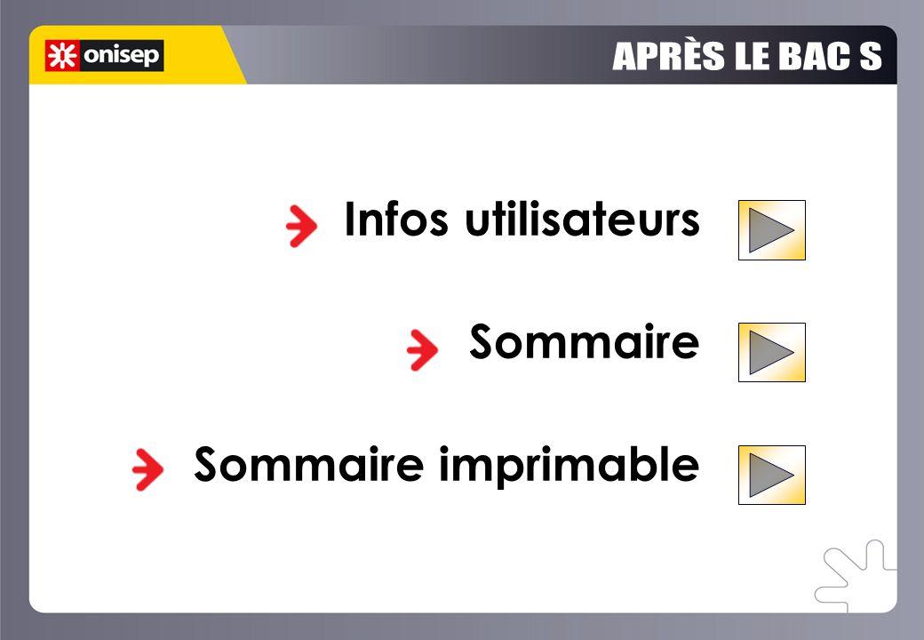 APRÈS LE BAC S Infos utilisateurs Sommaire Sommaire imprimable