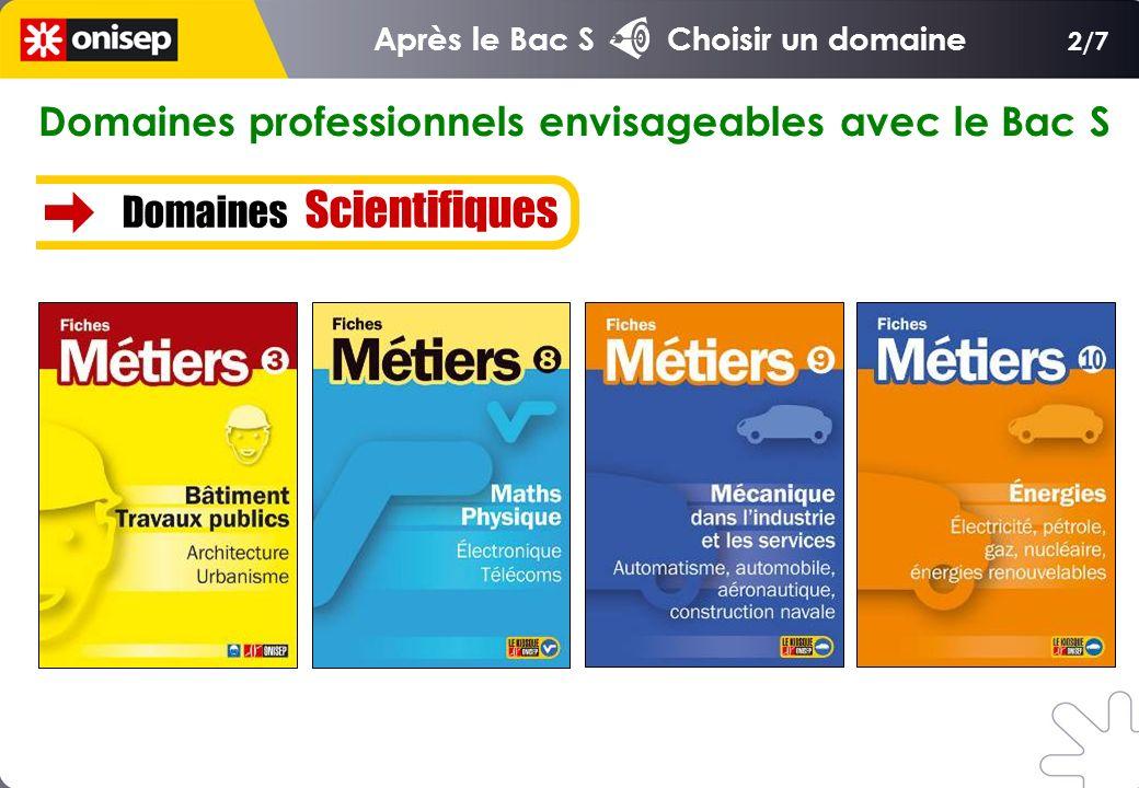 Domaines professionnels envisageables avec le Bac S