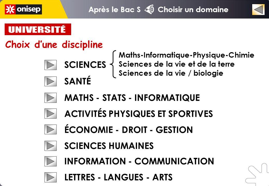 UNIVERSITÉ Choix d'une discipline SCIENCES SANTÉ