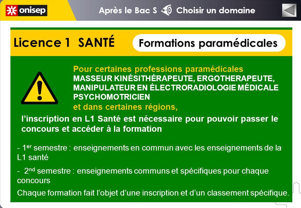 Licence 1 SANTÉ Formations paramédicales