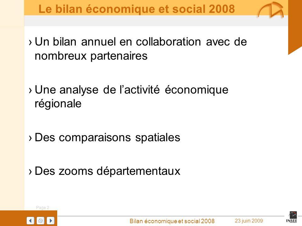 Le bilan économique et social 2008