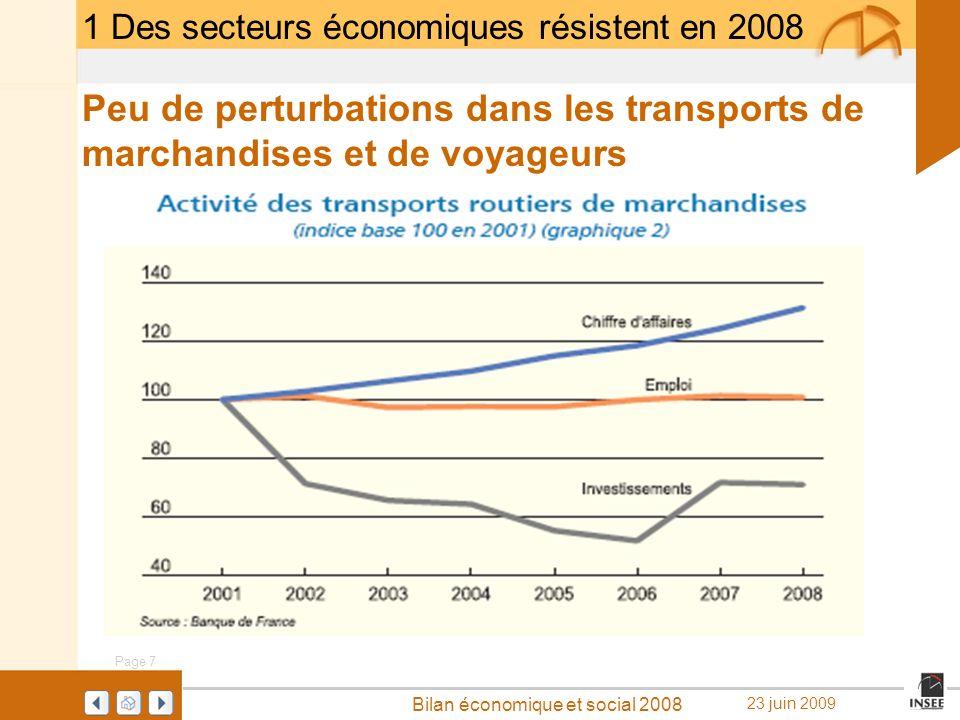 1 Des secteurs économiques résistent en 2008