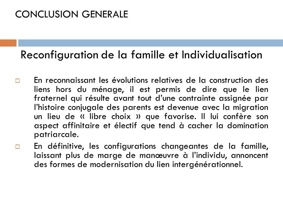 Reconfiguration de la famille et Individualisation