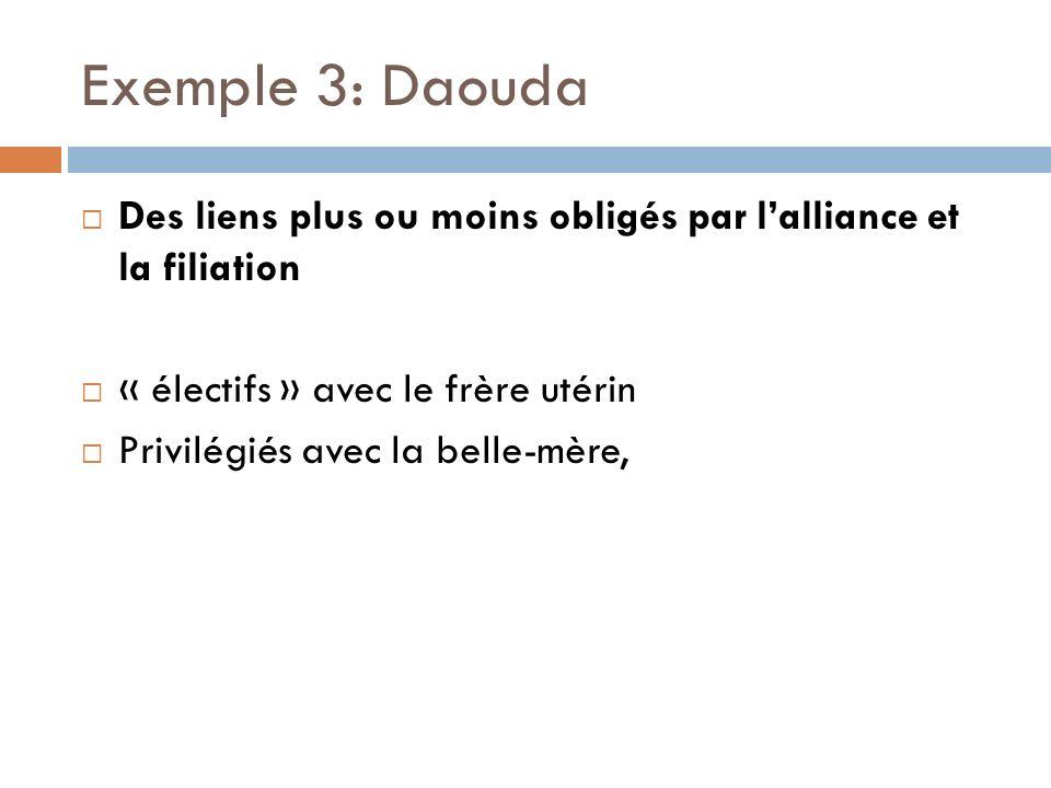 Exemple 3: Daouda Des liens plus ou moins obligés par l'alliance et la filiation. « électifs » avec le frère utérin.