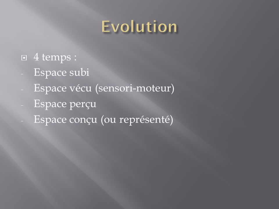Evolution 4 temps : Espace subi Espace vécu (sensori-moteur)