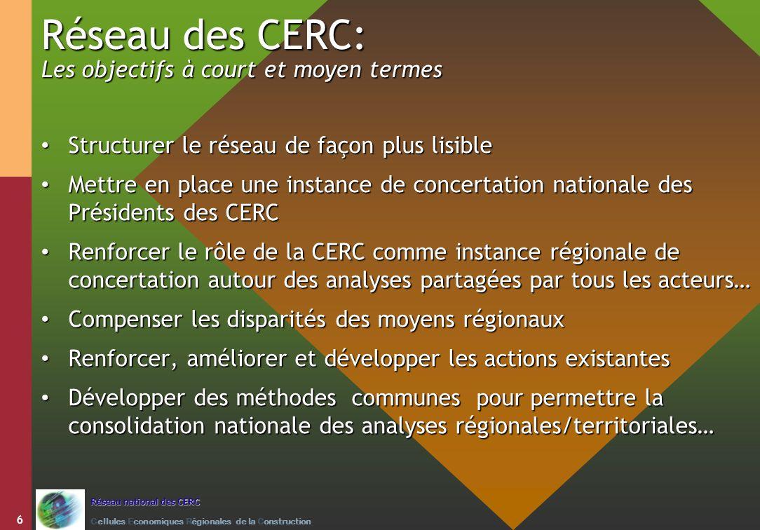 Réseau des CERC: Les objectifs à court et moyen termes