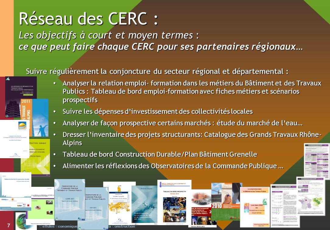 Réseau des CERC : Les objectifs à court et moyen termes : ce que peut faire chaque CERC pour ses partenaires régionaux…