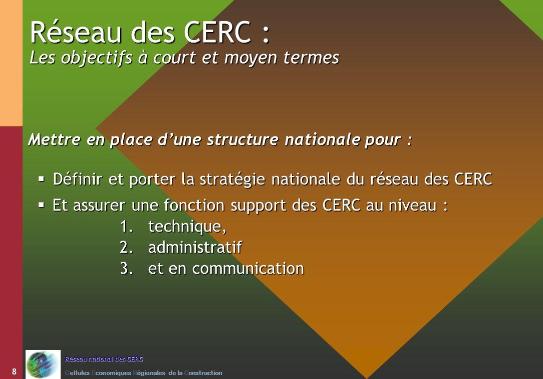 Réseau des CERC : Les objectifs à court et moyen termes