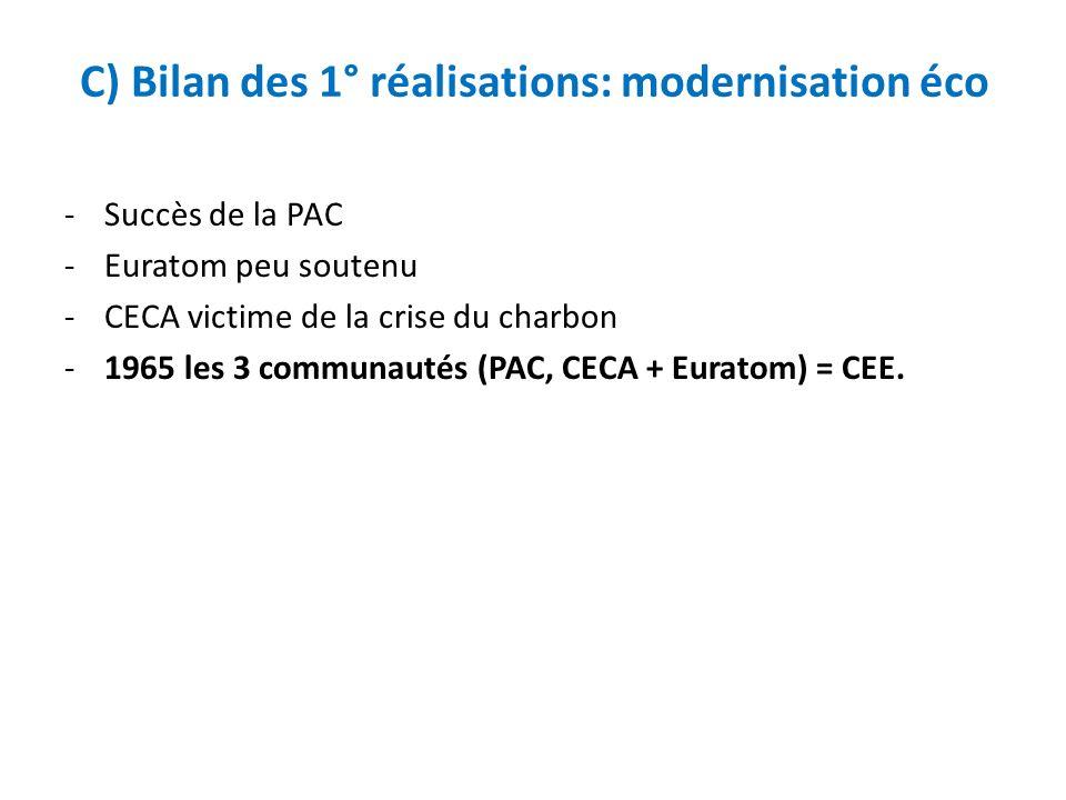 C) Bilan des 1° réalisations: modernisation éco
