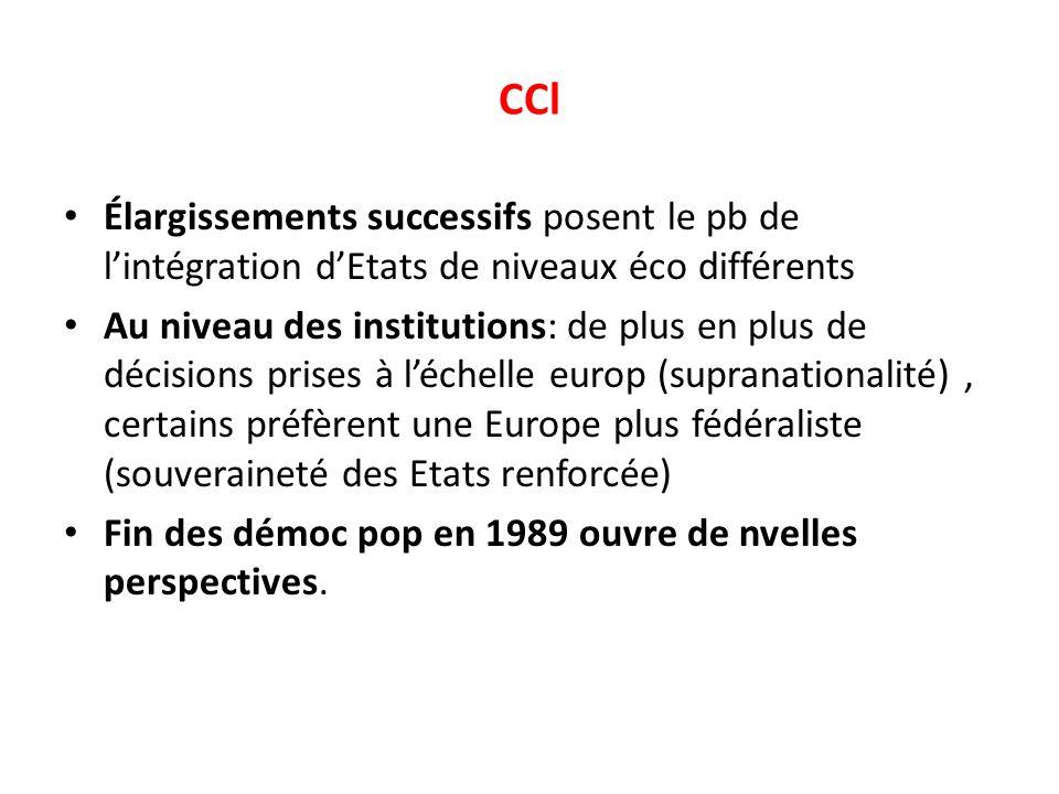 CCl Élargissements successifs posent le pb de l'intégration d'Etats de niveaux éco différents.