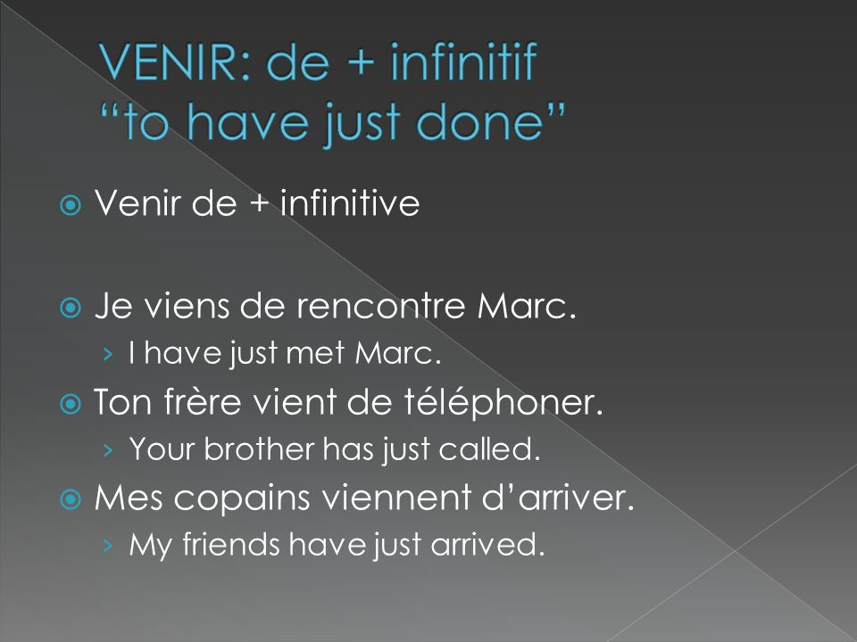 VENIR: de + infinitif to have just done
