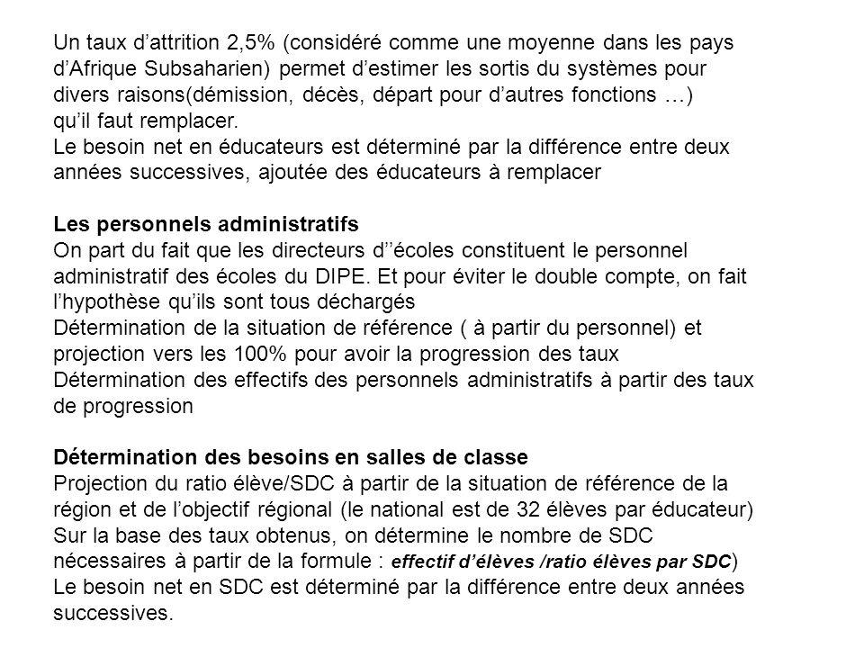 Un taux d'attrition 2,5% (considéré comme une moyenne dans les pays d'Afrique Subsaharien) permet d'estimer les sortis du systèmes pour divers raisons(démission, décès, départ pour d'autres fonctions …)